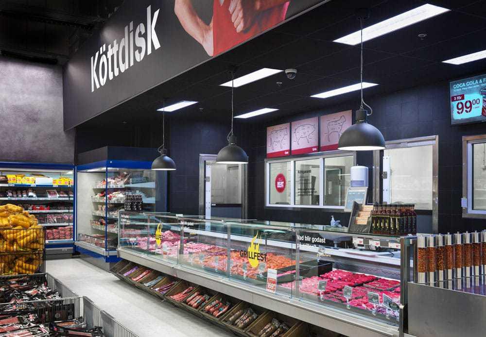 Köttdisk med manuell betjäning för att höja servicenivån i butik